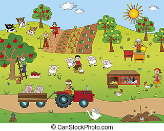 farming - illustration of country landscape with farm...