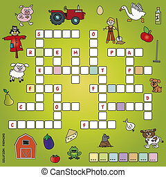 crossword - game for children: crossword with illustrations