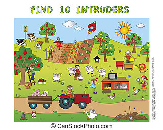 game for children: find ten intruders