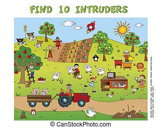 game for children: find ten intruders