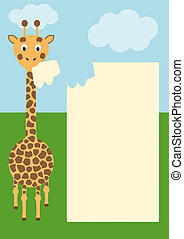 giraffe with paper - eating giraffe with paper for text -...