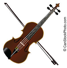 Fiddle - A typical violin and bow isolated over a white...