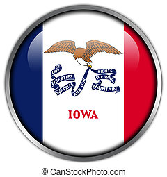 Iowa State Flag glossy button
