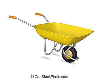 Yellow wheelbarrow - isolated on a white background