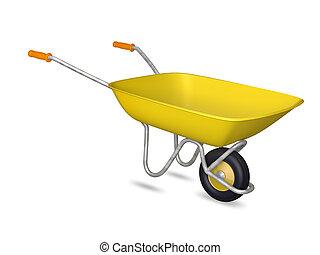 amarela, carrinho de mão
