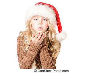 snowflakes - Pretty ten years girl in red Christmas cap...