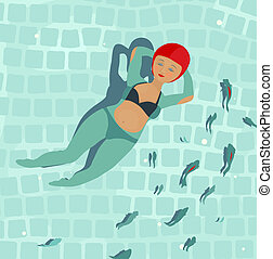 Swimming  Beautiful Woman in Pool