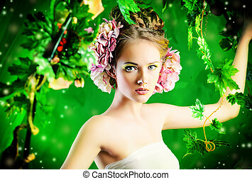 clambering plant - Beautiful young woman standing under an...