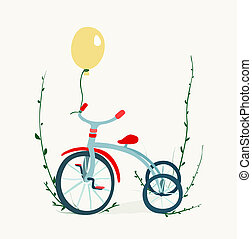 Children's Tricycle Drawing - Childish tricycle illustration...