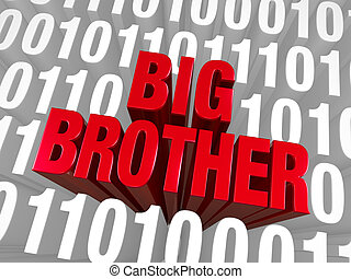 "Big Brother Emerges From Computer Code - A bold, red ""BIG..."