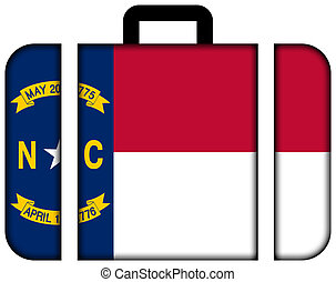 Suitcase with North Carolina Flag