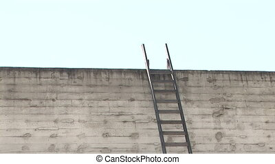 Ladder on a Wall - Ladder to the roof, zoom in