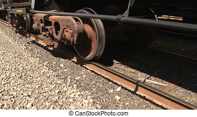 Detail of a train track - Close up of a railroad track and...