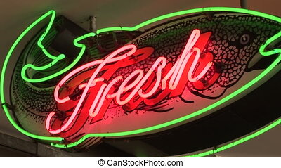 Neon Fresh Fish Sign - Bright neon fish shaped sign reading...