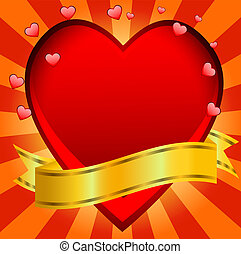 Postal to the day of saint Valentin with a red heart,vector...