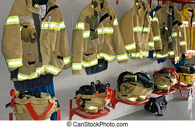 Firemans Uniform - Firemans uniform in a fire station in...