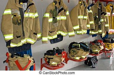 Fireman\'s Uniform - Fireman\'s uniform in a fire station in...