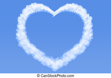 Heart shaped cloud in blue sky - A heart shaped cloud in a...