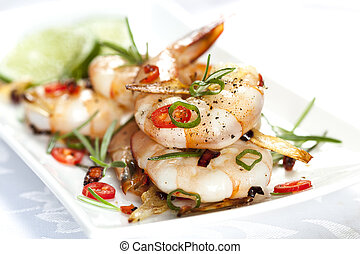 Grilled Shrimp with Garlic and Chili - Grilled shrimp with...