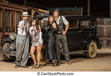 Gangsters Aiming Guns - Group of 1920s vintage gangsters...