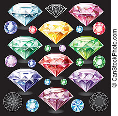 Set of Diamonds of different colors