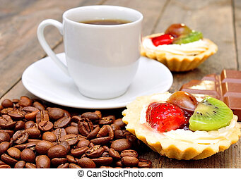 café, fruta, cestas
