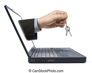 Online business - A hand holding a pair of keys comes from...
