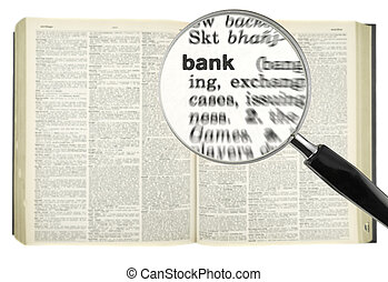 Searching for BANK - A magnifying glass on the word BANK on...