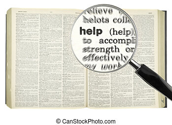 Searching for HELP - A magnifying glass on the word HELP on...