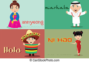 People from different cultures saying hello - A vector...