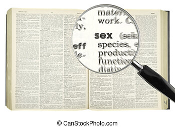 Looking for SEX - A magnifying glass on the word SEX on a...