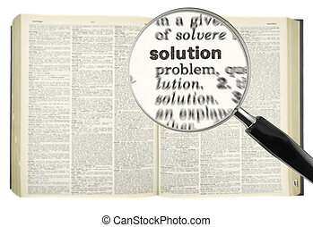 Searching for SOLUTION - A magnifying glass on the word...