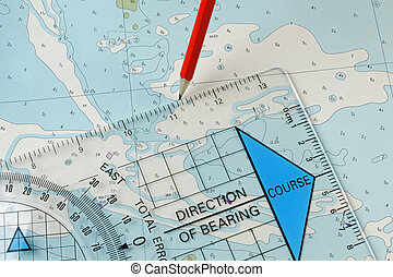 Navigation Equipment Plotting a Course - A course being...