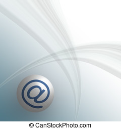 Email concept - Email symbol on a gentle stripe background