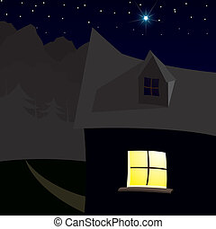 House with bright stars