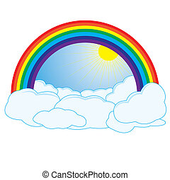 Rainbow and clouds with sun
