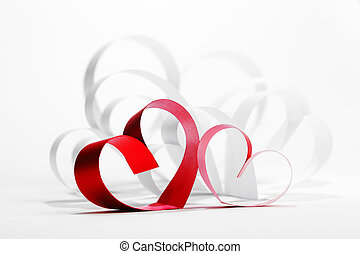 Valentines day card with paper and ribbon hearts on white