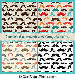 Hipster Mustaches Vector Seamless Patterns - Hipster Cute...