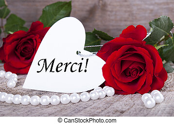 Background with Merci - Background with Roses and Pearls and...