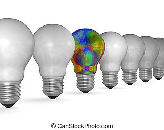 One multicolored iridescent light bulb in row of many white...