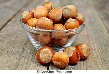 filbert nuts on a wooden table