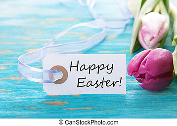 Banner with Happy Easter with tulip on turquiose background