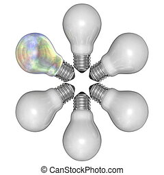 Pearl light bulb and white ones arranged in radial pattern...