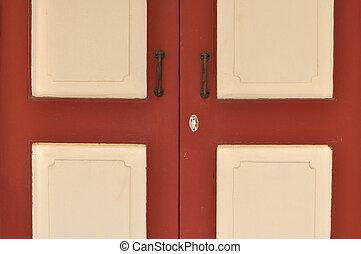 Classic wooden door in European style