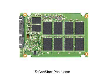 Opened solid state drive closeup on white background