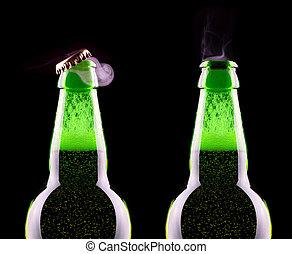 Top of open wet beer bottle
