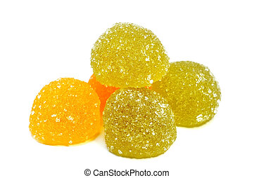 marmalade in the form of beads on a white background