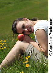 Health and beauty - Wonderful woman eating apple