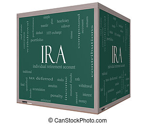 IRA Word Cloud Concept on a 3D cube Blackboard with great...
