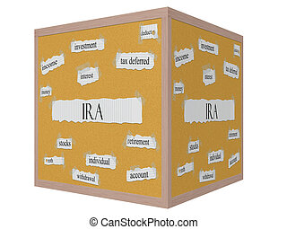 IRA 3D cube Corkboard Word Concept with great terms such as...